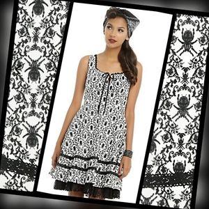 New Gothic Spider Velvet Pattern Fit & Flare Dress